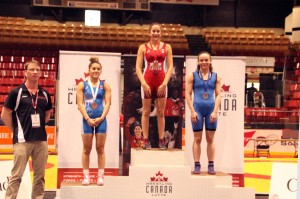 Laurence Beauregard on podium