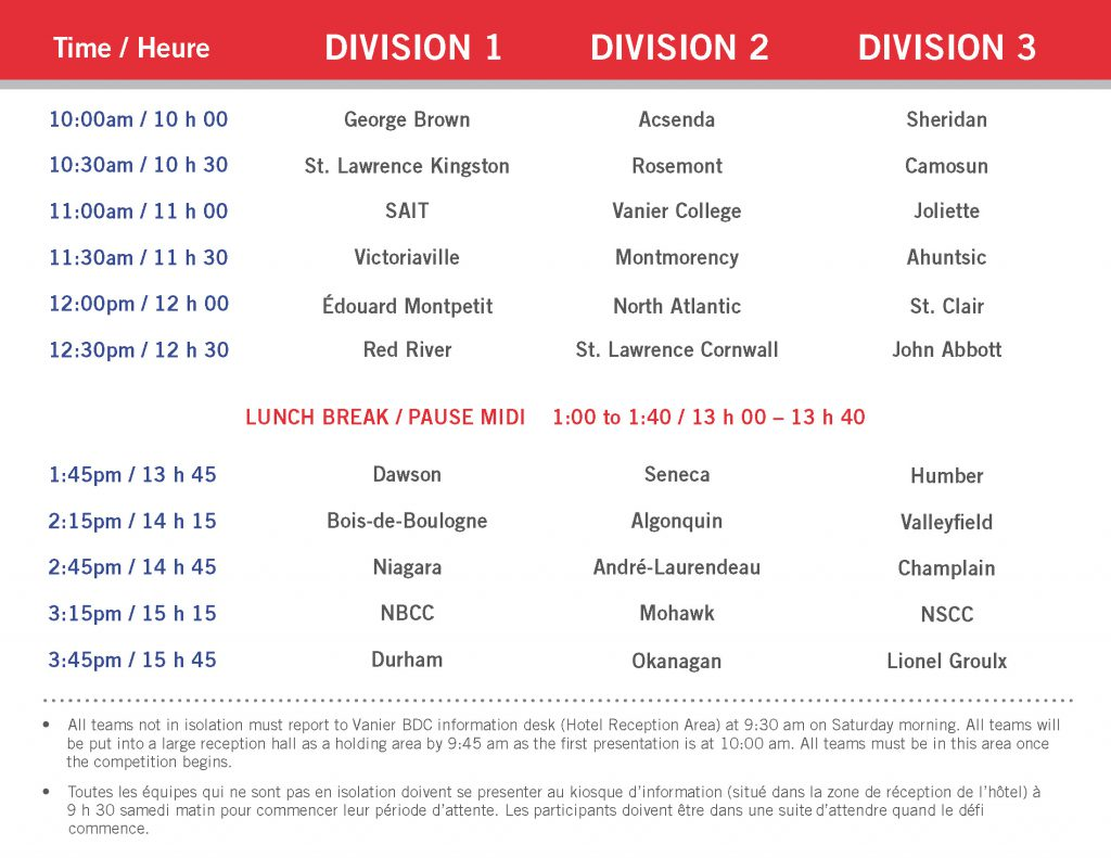 Presentation Schedule 2015