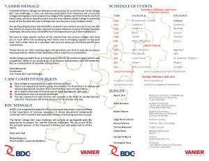 Case Challenge 2010 Presentation Schedule