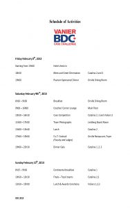 Schedule Of Activities 2013