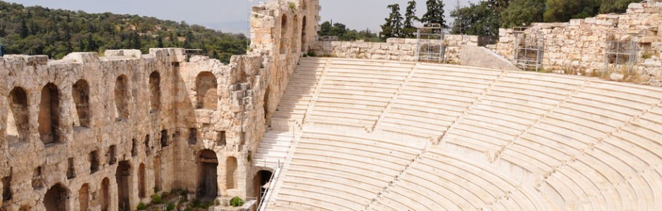 An ancient theater on the Acropolis in Athens, Greece