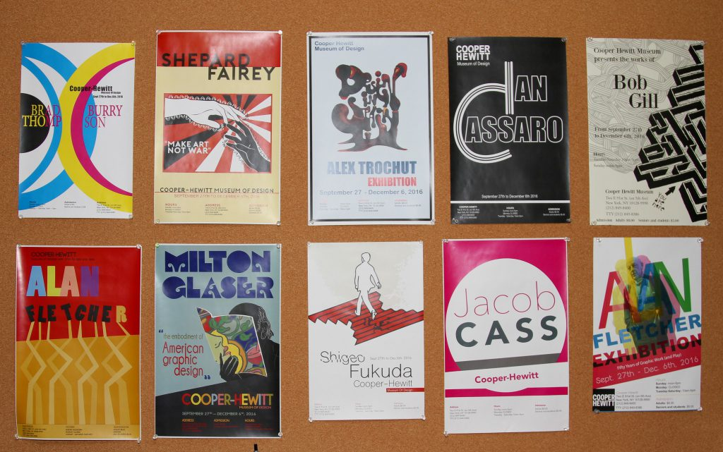 Posters promoting famous graphic designers.