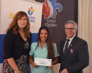 Rose Morissette with Patricia Demers, Executive director for FAEQ and Jean-Pierre Beaulieu, Executive Director for Golf Québec