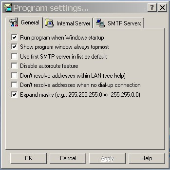 Configuration settings for Autoroute SMTP for laptop user