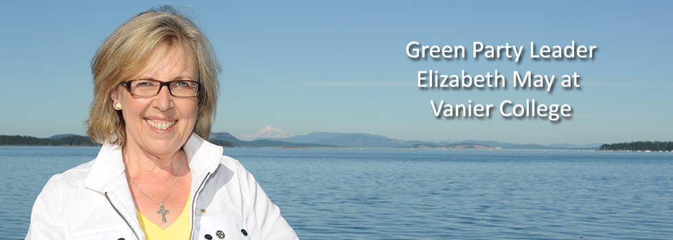 Elizabeth May comes to Vanier – March 3rd at 4 PM