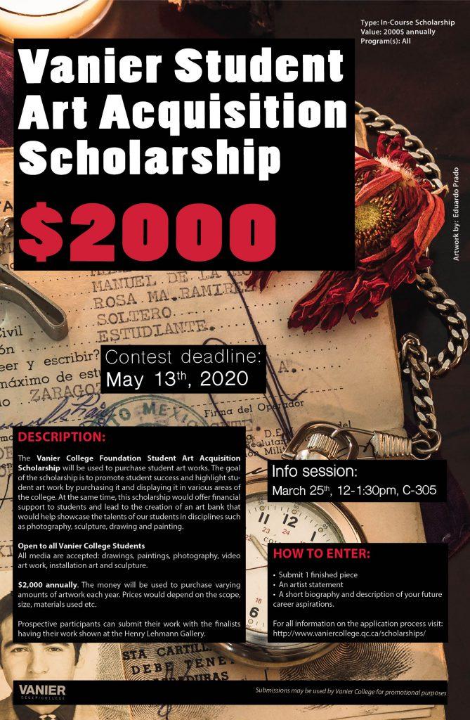 Vanier College Art Acquisition Scholarship   Scholarships